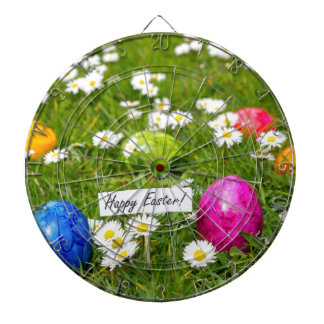 Painted Easter eggs in grass with white daisies Dart Board
