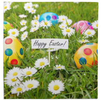 Painted Easter eggs in grass with white daisies Napkin