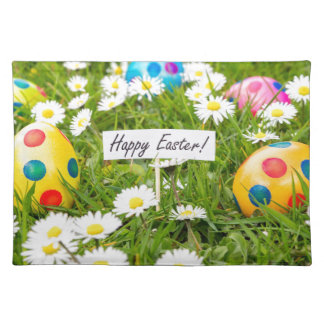 Painted Easter eggs in grass with white daisies Placemat