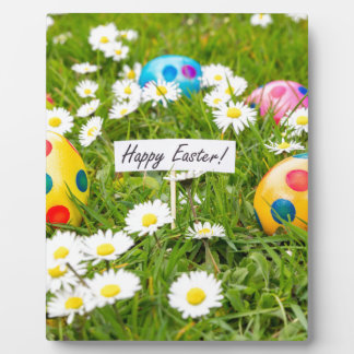 Painted Easter eggs in grass with white daisies Plaque
