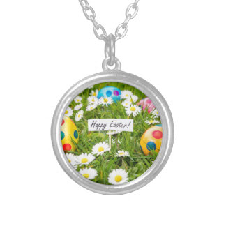 Painted Easter eggs in grass with white daisies Silver Plated Necklace