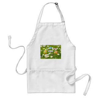 Painted Easter eggs in grass with white daisies Standard Apron