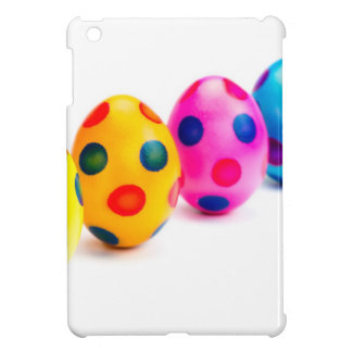 Painted easter eggs in row on white background iPad mini covers