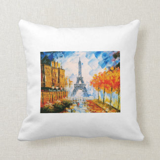 Painted Eiffel Tower Cushion