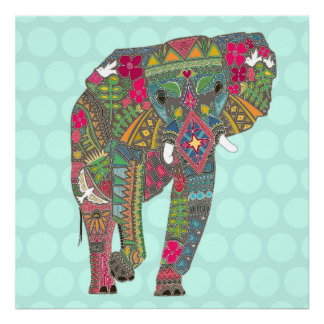 painted elephant aqua dot poster
