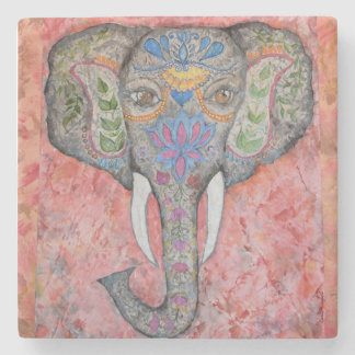 Painted Elephant Watercolor Art Stone Coaster