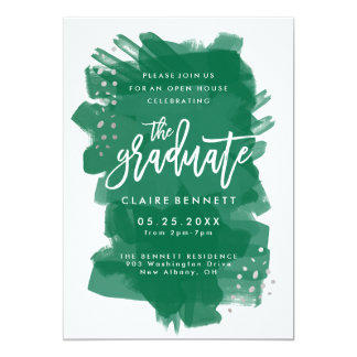 Painted Emerald Graduate Photo Graduation Invite