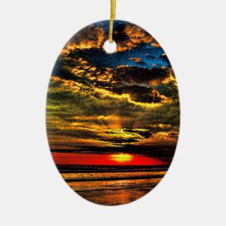 Painted Evening Sky Ceramic Oval Decoration