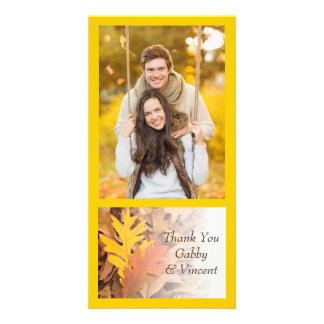 Painted Fall Leaves Thank You Customized Photo Card