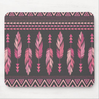 Painted Feathers-Gray Mouse Pad