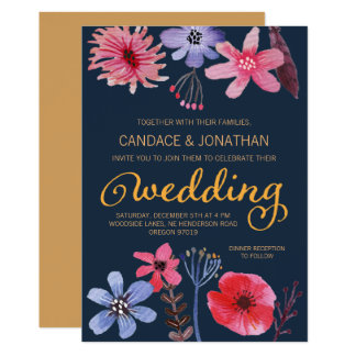 Painted Flora Wedding Card