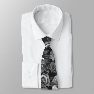 Painted Floral Black & White Tie