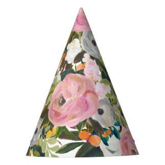 Painted Floral Blooms All Over Print Party Hat