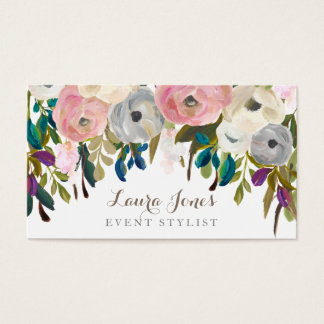 Painted Floral Florist Stylist Business Cards