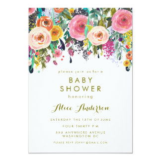 Painted Floral Garden Baby Shower Invite
