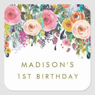 Painted Floral Garden Personalized Party Stickers
