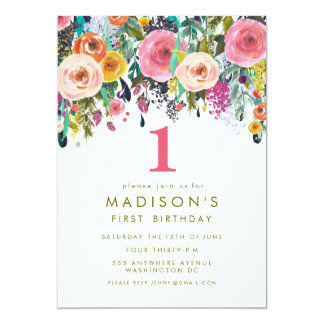 Painted Floral Girls 1st Birthday Invite