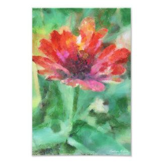 Painted Floral on Green Photographic Print
