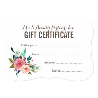 Painted Floral Salon Gift Certificate Template 13 Cm X 18 Cm Invitation Card