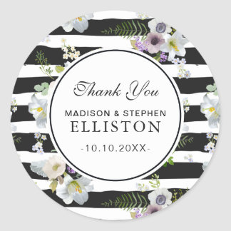 Painted Floral Striped Pattern | Thank You Classic Round Sticker