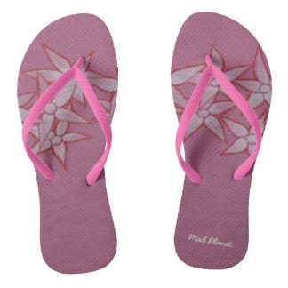 Painted Flower Pink Flip Flops Thongs