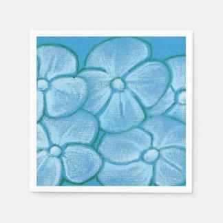 Painted Flowers Blue Napkins Disposable Serviettes