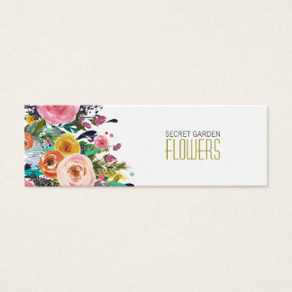 Painted Flowers Florist Skinny Business Cards