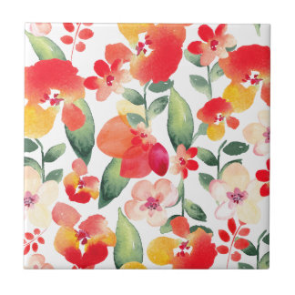 Painted Flowers Pattern Small Square Tile