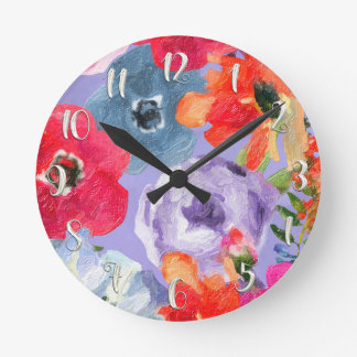 Painted Flowers Purple Modern Floral Personalized Round Clock
