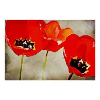 Painted Flowers Red Tulips Poster