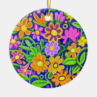 Painted Flowers Round Ceramic Decoration