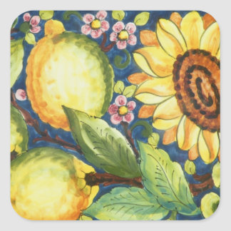 Painted Folk Art  Sun Flower Square Sticker