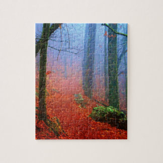 Painted Forest Autumn Blue Fog Jigsaw Puzzle