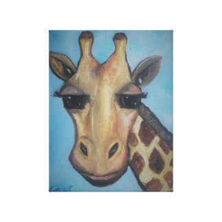 Painted Giraffe on Canvas