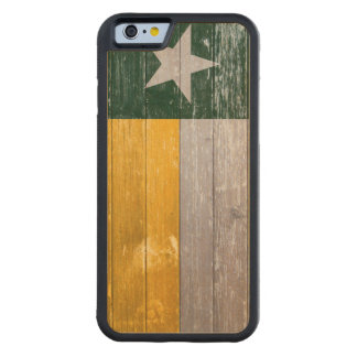 Painted Green and Gold Texas Flag Carved Maple iPhone 6 Bumper Case