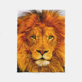 Painted Green Eyed Lion Fleece Blanket