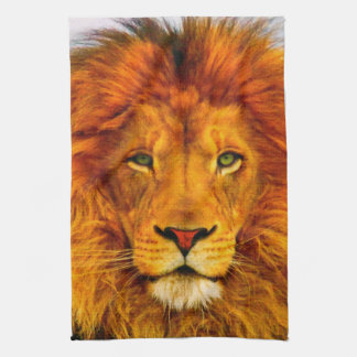 Painted Green Eyed Lion Kitchen Towel