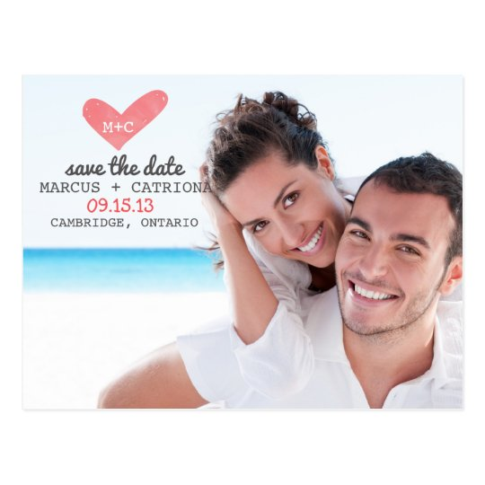 Painted Heart Typewritten Save the Date Postcard