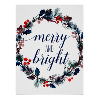 Painted Holiday Wreath Wall Art Poster - Merry