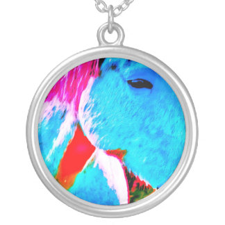Painted horse round pendant necklace