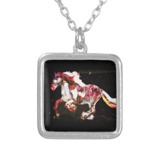 Painted Irish Gypsy Horse Silver Plated Necklace