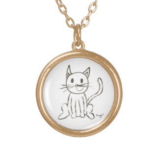 Painted Kitty Necklace