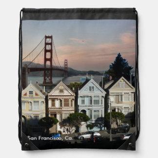Painted Ladies And Golden Gate Bridge Drawstring Bag
