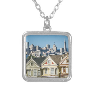 painted ladies san francisco silver plated necklace