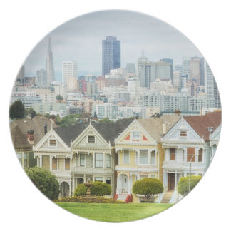 Painted Ladies, Victorian houses and skyline Dinner Plates