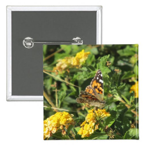 Painted Lady Butterfly on Lantana Blooms Buttons