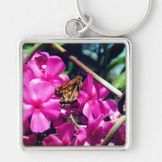Painted Lady Butterfly on Pink Flowers Key Ring