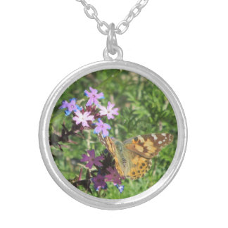 Painted Lady Butterfly on Purple Flowers Necklace