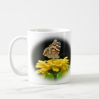 Painted Lady - Butterfly on Zinnia Coffee Mug