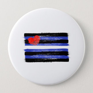 PAINTED LEATER PRIDE FLAG and SYMBOL - -  10 Cm Round Badge